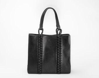 TATYZ textured-leather medium tote (black)