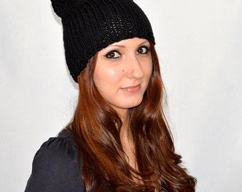 Spring / Autumn Cat Hat, Black Cat Hat, Knit Cat Ear Hat or Cat Beanie, Womens Cat Hat, Cat Ears Hat