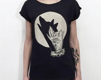 Womens T-shirt, WOLF shirt, full MOON tee shirt for women, hand shadow puppet, tattoo print, tattoo shirt, steampunk clothing, vegan shirt