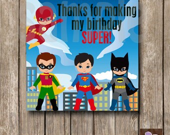 Instant Download - Super Hero Party Favor Tags - Print at Home