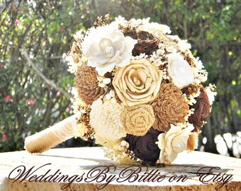 Ivory Brown Champagne Sola Bouquet, Fall Wedding, Burlap Lace,Alternative Bouquet,Rustic,Bridal Accessories,Keepsake Bouquet,Wedding Bouquet