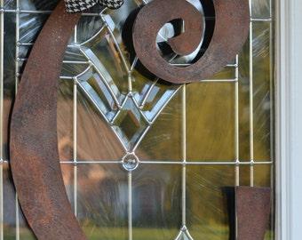 Metal initial, door hanger or wall art, rusted metal letter, single metal letter,door hanger, Monogrammed metal sign,