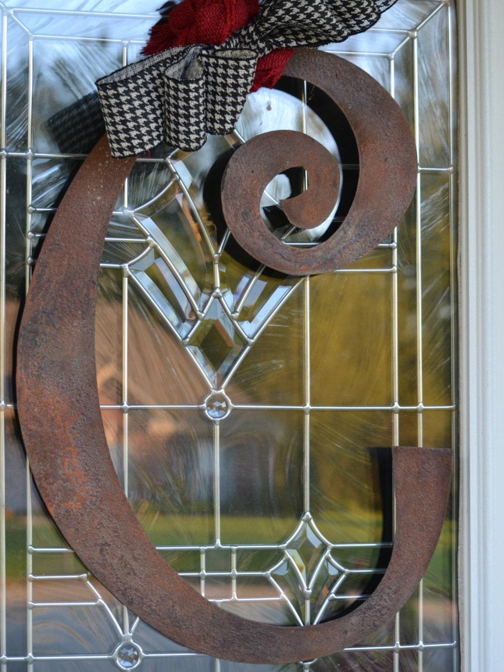Metal Initial Door Hanger Or Wall Art Rusted Metal Letter