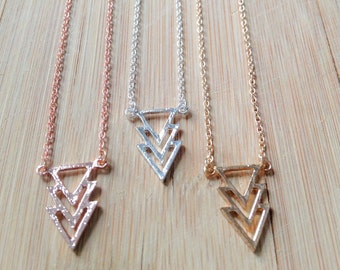 Triangle necklace, Geometric necklace, arrow necklace, cute necklace, dainty necklace, gift, modern necklace in gold, silver or Rosegold