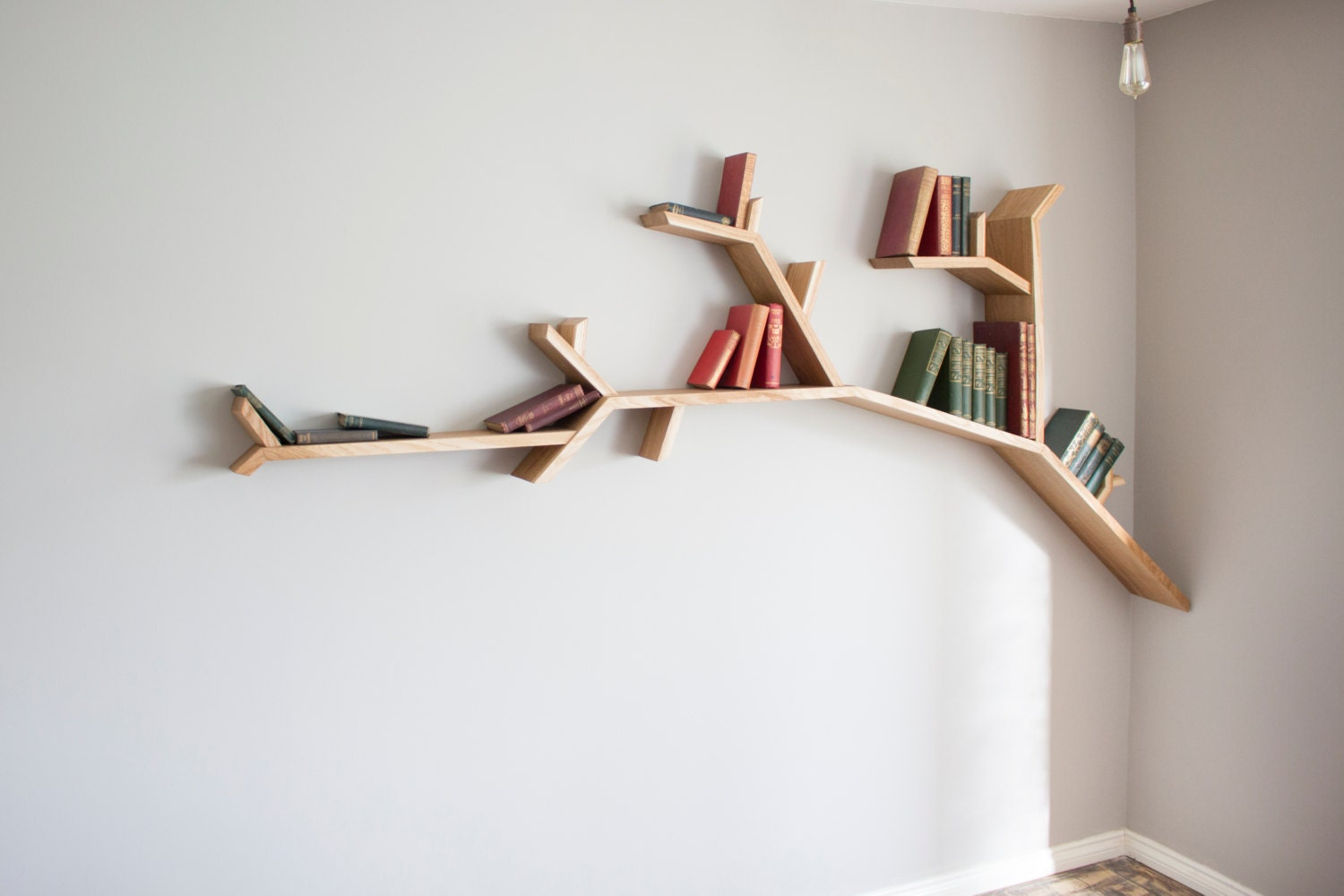Oak Tree Branch Shelf 2.4m wide by 1.2m high by ...