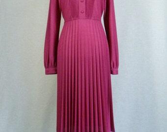 1980's Sunburst Pleated Fuchsia Dress Long Sleeve Nu-Mode Toronto