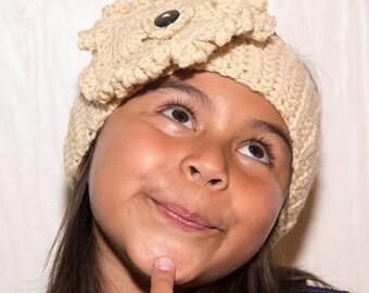 Beige Headband with Freeform Crochet Flower