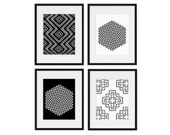 Wall Art Set, Geometric Print, Set of 4, Black and White, Wall Decor, Home Decor, Living Room, Office, Bedroom, Library Art, Modern Design