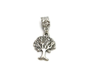 Tree  Charm Silver Tree Charm European Charms Large Hole Big Hole Bead Jewelry Supplies European Tree Of Life Charm