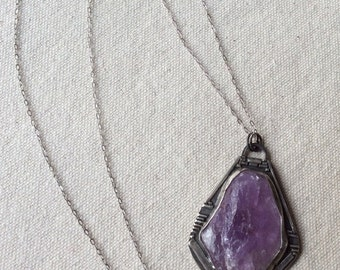 Sterling silver and raw amethyst necklace