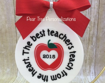 Teacher Ornament, Teacher Gift, Christmas Ornament, Personalized, Teacher Appreciation, Personalized Teacher, Apple Ornament, Custom Teacher