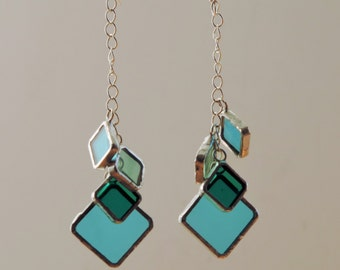 Long colorful earrings, green and turquoise, glass and silver earrings, stained glass