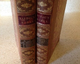 Balzac's Works Illustrated Sterling Edition 1901 -  2 Volumes of  18 v. Set Limited Edition Burgundy Moroccan Gilt