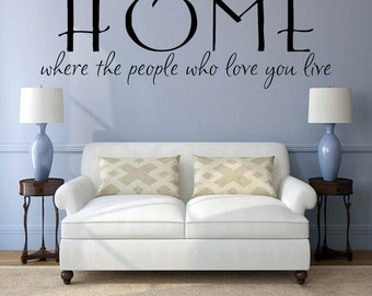 """Home Wall Decal, Wall Decal Quote, Wall Decals Living Room, Foyer Wall Decals, Home Where The People Who Love You Live"""", Vinyl"""