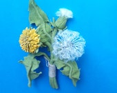 Leather dandelion brooch, unusual gift, decoration for women on the jacket dress costume blouse