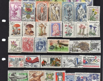 44 pretty Czech stamps, vintage Czechoslovakia postage, Craft supplies, decoupage, collage, altered art. Eastern Europe. All different.