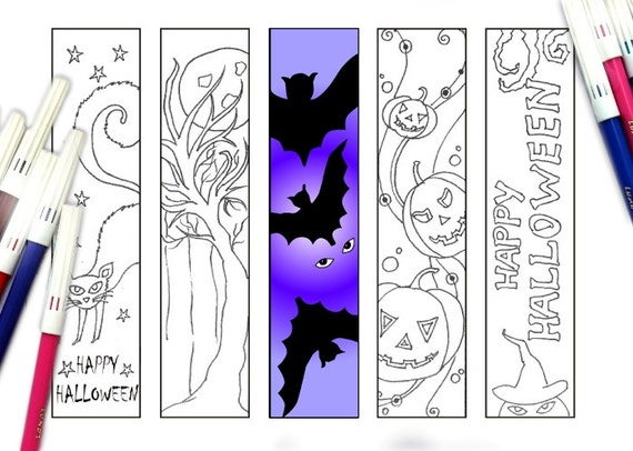 instant download - Halloween Bookmarks To Color
