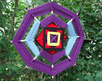Purple Ojo de Dios with Wire and Bead Embellishment