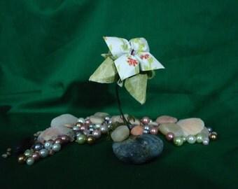 Single Origami Flower on Rock Base