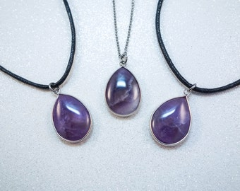 Amethyst Drop Crystal Pendant Choker OR Necklace