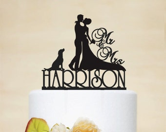 Mr & Mrs Wedding Cake Topper, Custom Cake Topper With Last Topper, Personalized Cake Topper With A Dog,Acrylic Decoration-C050