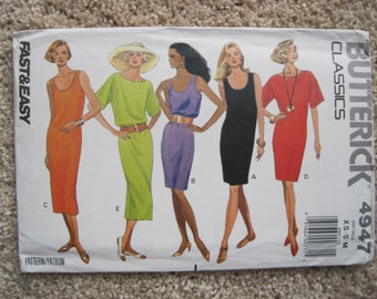 UNCUT Misses Dress - Size XS to Medium - Butterick Pattern 4947 - Vintage 1990