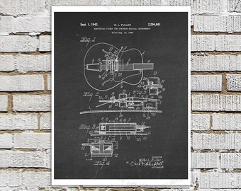 Vintage Gibson Electric Guitar Pickup Patent Print #2 Black Chalkboard Art Gibson Guitar Patent art print Electric Guitar Gift for Musician