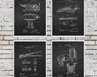 Blacksmith Decor set of 4 unframed art prints - Blacksmith Tools Anvil, Tongs patents blacksmith gift for him blacksmithing gift