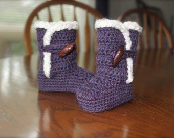 Crochet Ugg Boots for baby/infant, Natural Purple