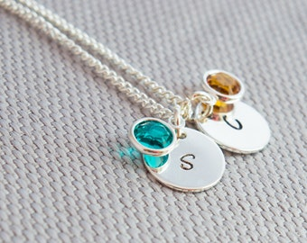 Silver Initial & Birthstone Necklace, A mother's necklace, Personalised Jewellery, Silver Plated, Gift Idea