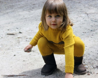 Wool longies for baby, infant, toddler - Alpaca knit mustard yellow  leggings, knitted children, kids pants - girl trousers