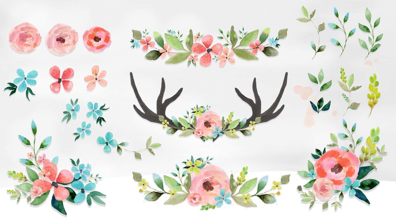 Watercolor Flower Clipart Wedding Floral Clip Art Bouquet Flowers Watercolour