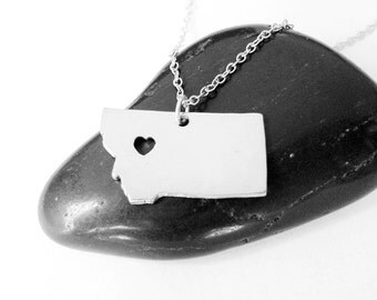 Montana Charm Necklace,Silver Montana Shaped State Necklace, MT State Pendant Jewelry,Montana Necklace With A Heart