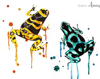 Poison Arrows - Print of a couple of poison arrow frogs from an original mixed media painting