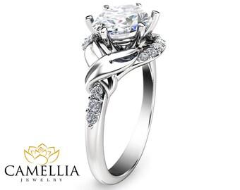 Oval Moissanite Engagement Ring 14K White Gold Oval Engagement Ring Wedding Engagement Ring