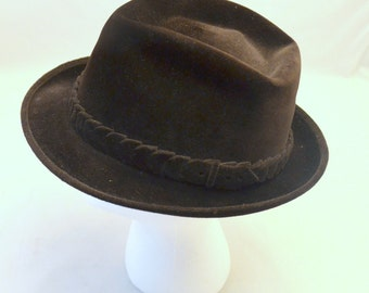 Spectacular Brown Borsalino Velour 35 Vintage Men's Fedora, Classic Italian Hat, Size 6 7/8, Made for Juster Bros, Dobbs Hat Box