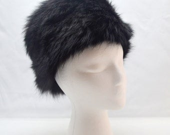 Vintage Black Fur Hat by Madcaps, 1960s Era Russian Style Cossack Hat, Size Small, Roos Atkins California