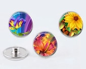 Snap chunk charms 20mm 3 Pieces custom Colorful Floral design handmade - fits standard 16 to 20mm Noosa, Ginger Snaps, Snapit snap jewelry
