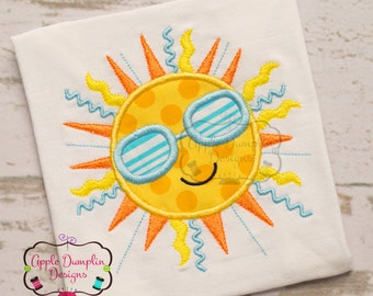 Shining Summer Sun with Shades Appliqué Machine Embroidery Design, Boy, Girl, Summer, Spring, Beach, 5x7, 6x10, 9x9