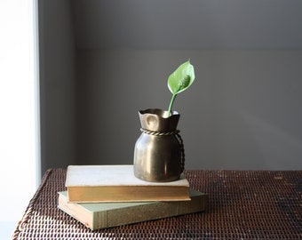 Small Brass Bag and Rope Vessel Vase