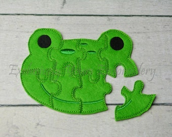 Frog Puzzle w/Storage Pouch, Quiet Game, Toddler Toy, Travel Toy, Party Favor