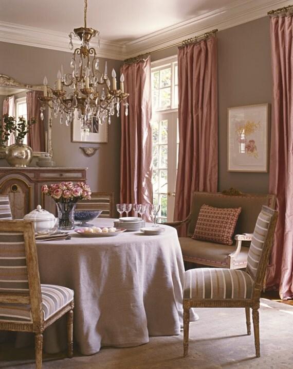 BLUSH PINK SILK curtain, shantung silk, window dressing, draping ...