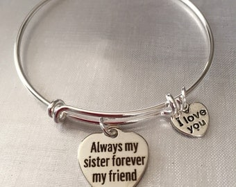 Sister-Bracelet-always my sister forever my friend charm