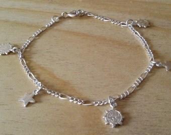 Braccialetto in argento 925, italiano, con charms, ciondoli, stelle e sole.