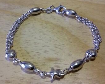 Braccialetto in argento 925, italiano, con cuori, stella e ovali.