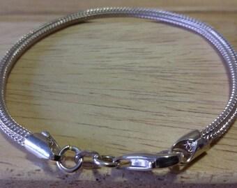 Braccialetto in argento 925, italiano, maglia cobra, elasticizzato.