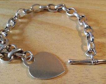 Braccialetto in argento 925 con ciondolo/ charms pendente a cuore.