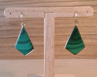 925 Silver earrings, gold-plated 750 Italian Crystal pattern, overthrown in malachite.