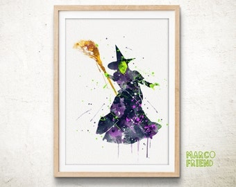Wicked Witch of the West Prints, The West Wizard of Oz Prints, Watercolor Art, Kids Decor, Home Decor, Halloween Decor, Wall Art, Gifts -296