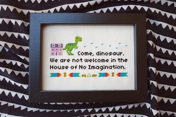 No Imagination House cross stitch quote from Friends Tv Show